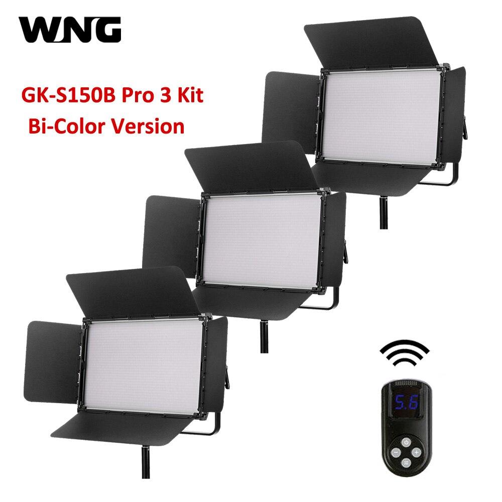 3 * GK S150B Pro двухцветный светодиодный осветительные наборы для студии фотографический свет с 2,4G пультом дистанционного управления + сумка для