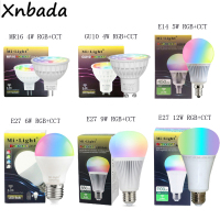 Led Lamp 4 W 5 W 6 W 9 W 12 W Milight 2.4G Led Lamp, MR16 GU10 E14 E27 RGB + CCT Dimbare Led Licht