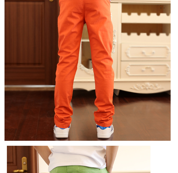 4-18T Boys Pants Casual Solid 100% Cotton Straight Pants For Boys Elastic Waist Children Boy Trousers 110-180 High Quality
