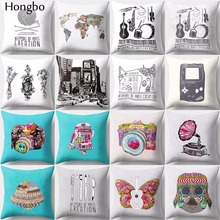 Hongbo 1 Pcs Vintage Camera World Map Sewing Machine Cushion Cover Pillowcase Pillow Covers