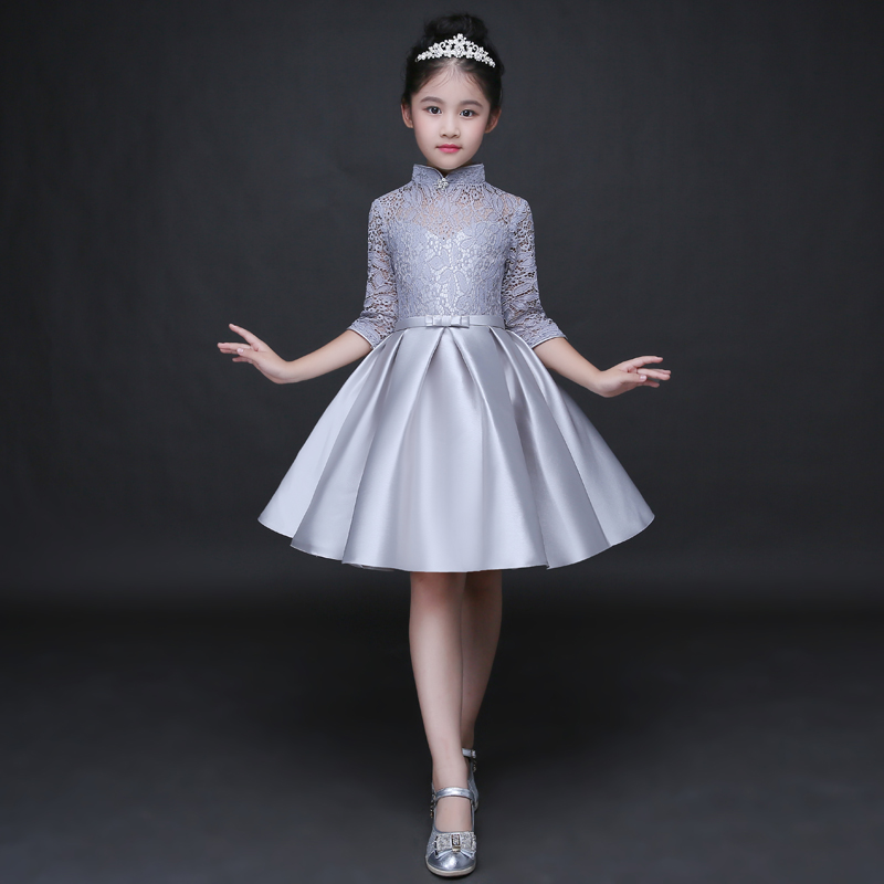 High Quality 2017 Embrodiery Lace Pierced Knee Length Wedding Flower Girls Dress Sweet Princess A-Line Kids Dress For Girls P94 цена