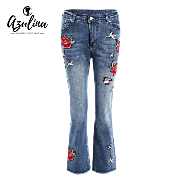 AZULINA Floral Embroidery Women's jeans trousers Denim Pants Women 2017 Spring Summer High Waist Straight Denim Jean For Woman