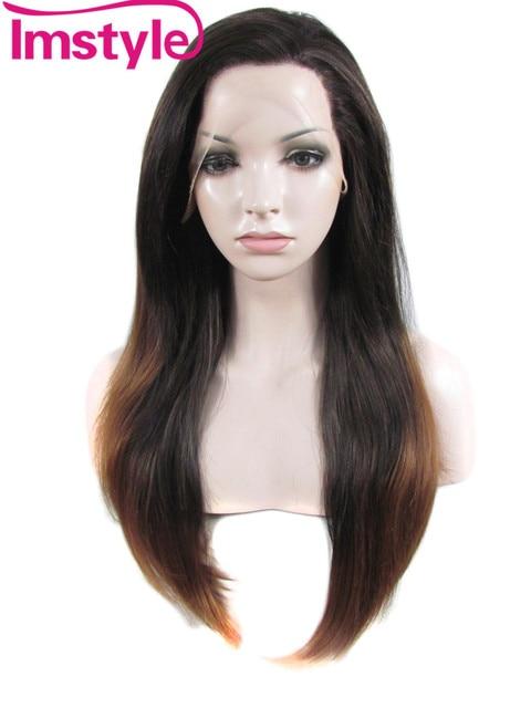Imstyle Lisci capelli Sintetici radice Nero Scuro Auburn Ombre 24 Pollici drag  queen cosplay lunghi parrucche 237912b30634