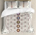 Blume des Lebens Bettbezug-set Heiligen Geometrie Themen Verschiedene Formen Dreiecke Kreise Quadrate Chakra Zen Bettwäsche Set Multicolor