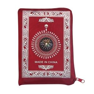 Image 5 - イスラム教徒祈りの敷物ポリエステルポータブル編組マット単にで印刷コンパスでポーチ旅行ホーム新スタイルマット毛布