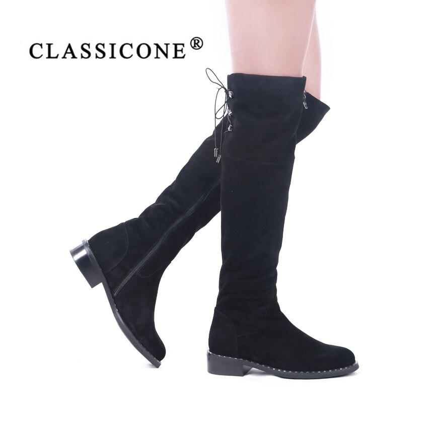Sexy Diseñadores De Caliente Negro Lana Marca Cuero Nieve Mujer Moda Rodilla Pisos Classiocne La Genuino Estilo Sobre Invierno Botas Zapatos xgU4qxwTS