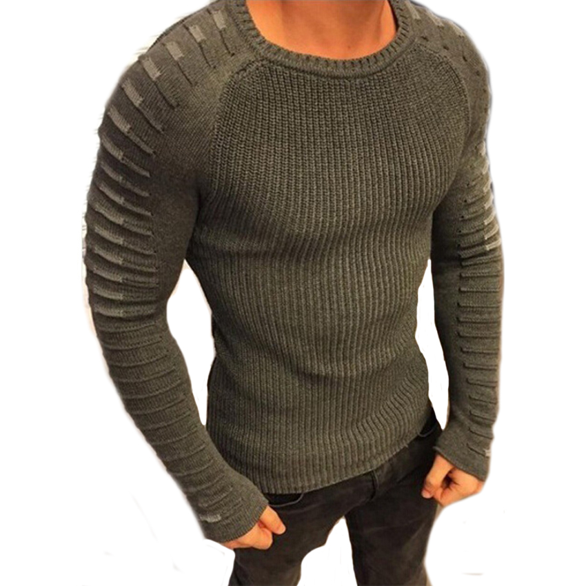 Men Fashion Knitted Striped Sweater Pleated Sleeve Slim Fit Hipster Pullovers Patchwork Long Sleeve Autumn Elastic Sweater Men