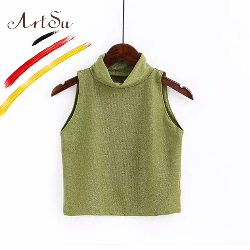 ArtSu Women Turtleneck Summer Tank Tops 2018 New Sexy Sleeveless Crop Top Camis Femme Brief Slim Sequin Camisole Vest Streetwear