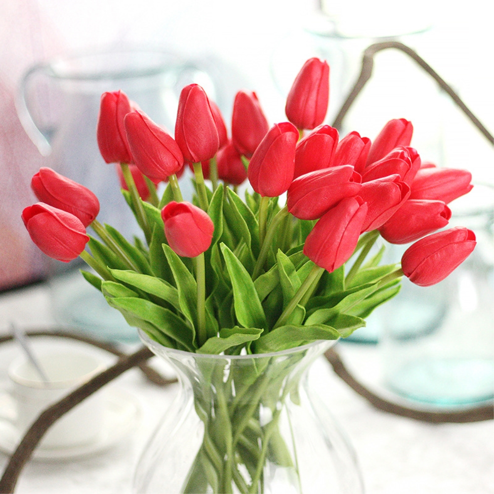 12pcs/lot Artificial PU Pretty Flower Bouquet Red Tulip Flowers for Wedding for Party for Home Decoration Free Shipping vase