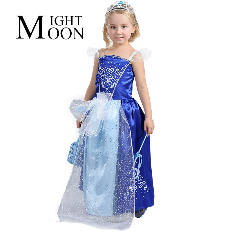 MOONIGHT 2018 Kids Clothes Princess Dresses Costume Robe Baby Girl Cinderella Dress for Party