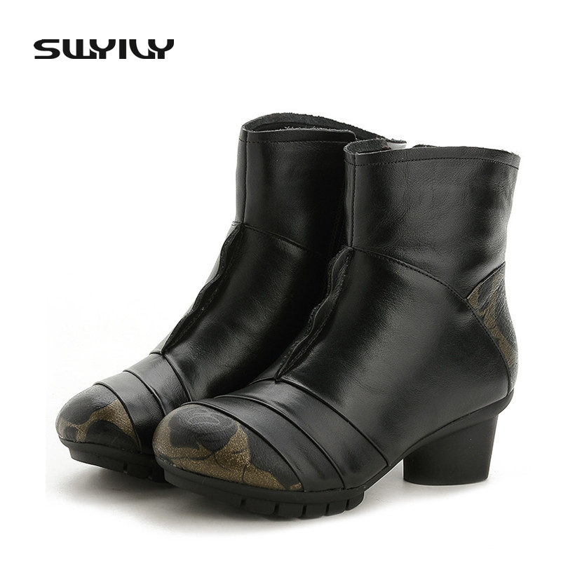 Retro Winter Women Warm Ankle Boots Cow Leather Med Heel 5cm Fashion Sewing Mother Rubber Sole Non-slip Snow Shoes Female Boots whensinger 2017 new women fashion boots genuine leather fashion shoes rubber sole hands sewing 2 color 7126