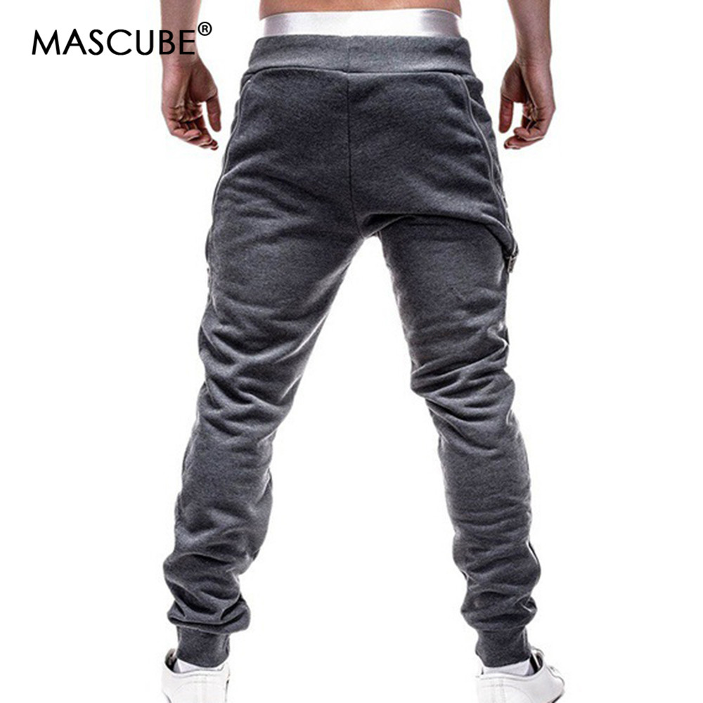 MASCUBE 2019 Brand Men Pants Hip Hop Harem Joggers Pants 2019 Male Trousers Mens Joggers Solid Zipper Decoration Pants Sweatpant
