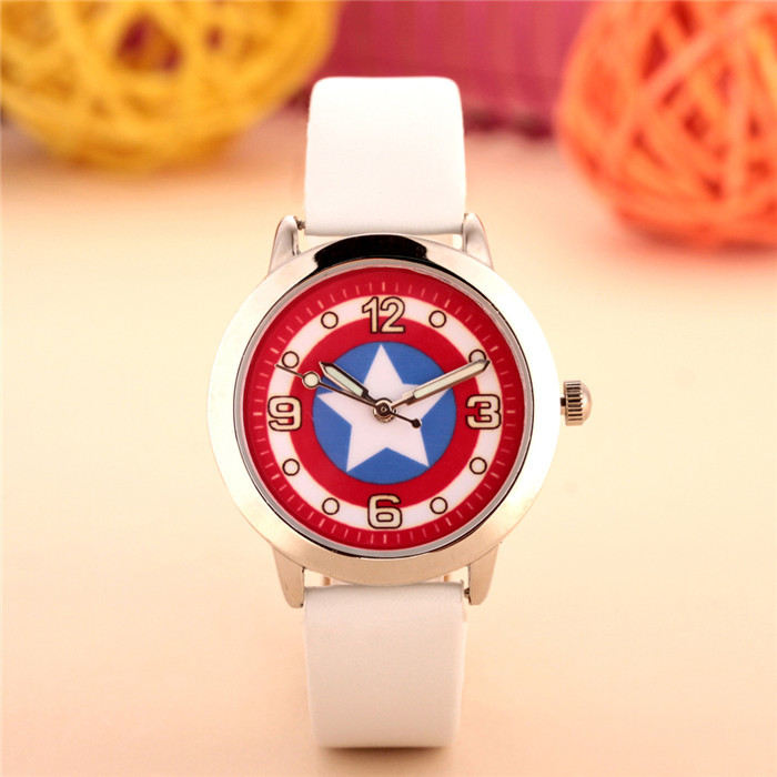 100pcs/lot wholesales hot sales fashion 3D cartoon Captain America students boys children gifts watch quartz leather wristwatch 6
