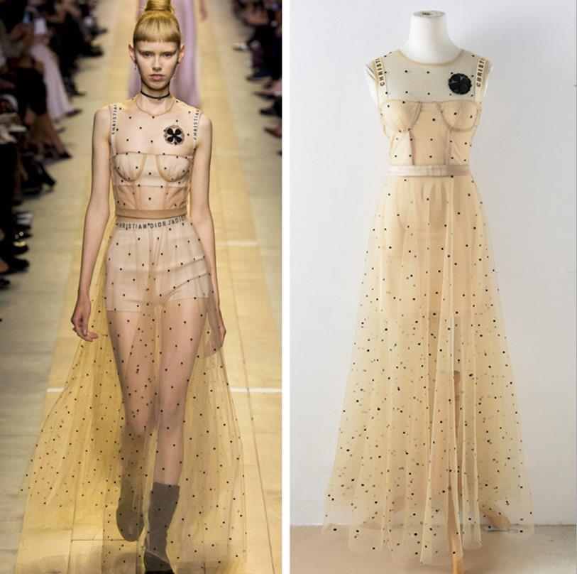 High Quality Luxury Brand 2018 Fashion Spring Women Sexy Nude Mesh Dress Lady Sleeveless O-neck Womens Diamonds Sequined Dresses