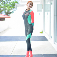 Korean fashion one piece diving Snorkeling jumpsuit womens free spearfish surfing wetsuit 2019 ladies UV swimsuit