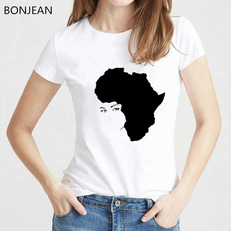 Melanin Kemeja Wanita Mahkota Emas Rambut Keriting Gadis Dicetak Tshirt Femme Roupas Tumblr T Shirt Musim Panas Atasan Wanita Feminis T-shirt