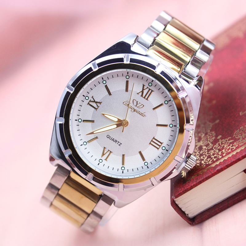 Women Men High Quality Quatrz Couples Watch Gold Stainless Steel Luxury Dress Watch Business Waterproof Fashion Casual Watch