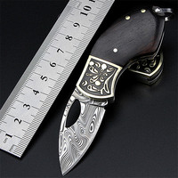 2018 New Free Shipping Swedish Powder Damascus Tactical Folding Knife Self defense Mini Key Ring Gift collection Small Knives