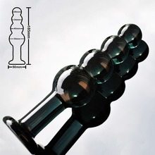 Black large artificial Pyrex Glass dick crystal dildo penis Anal Beads big ball butt plug masturbate adult sex toy for women men