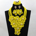 Newest Yellow Nigerian Wedding Indian Costume Bridal Accessory Jewelry Set African Crystal Beads Necklace Set Big Flowers ALJ770
