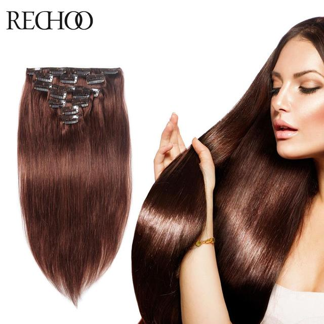 7 Piece Remi Human Hair Clip On Extensions Color 33 Dark Blonde
