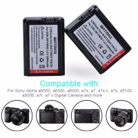 2pcs 2000mAh NP-FW50 NP FW50 Camera Battery + LCD USB Dual Charger for Sony Alpha a6500 a6300 a6000 a5000 a3000 NEX-3 a7R      5