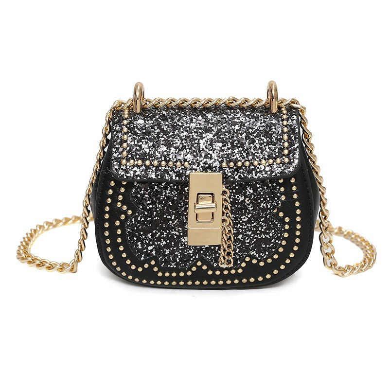 15a265762267 Woman Bag 2018 Ladies  PU Leather Handbag Sequins Messenger Bag Fashion  Flower Small Beach Bag