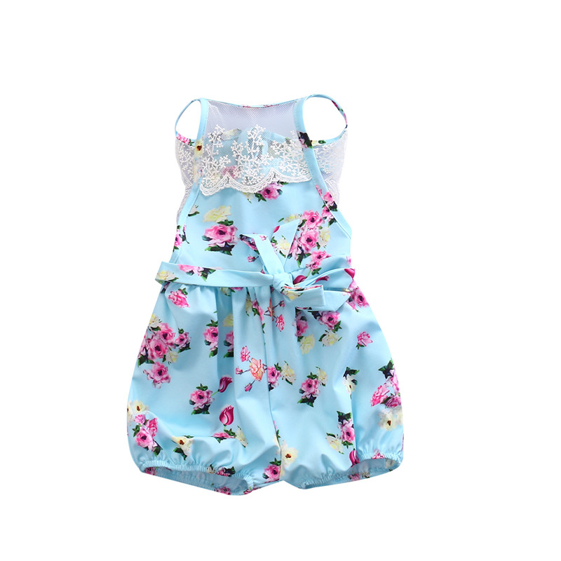 a7736852d5fb Summer Nice Newborn Infant Baby Girl Romper Lace Blue Floral Sleeveless Lovely  Baby Romper Jumpsuit Playsuit Outfit Clothes