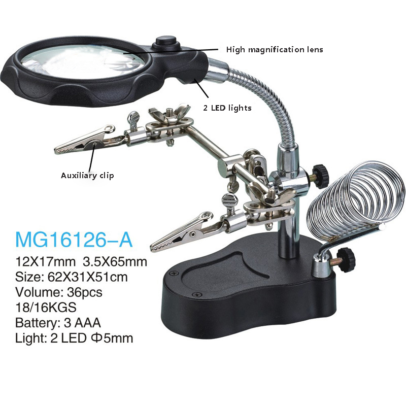 LED Illuminated Magnifier Iron desktop magnifier with LED auxiliary clip stand magnifier