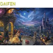 Full Square Diamond mosaic cartoon dancing castle beauty Beast  Round painting DIY embroidery Cross stitch