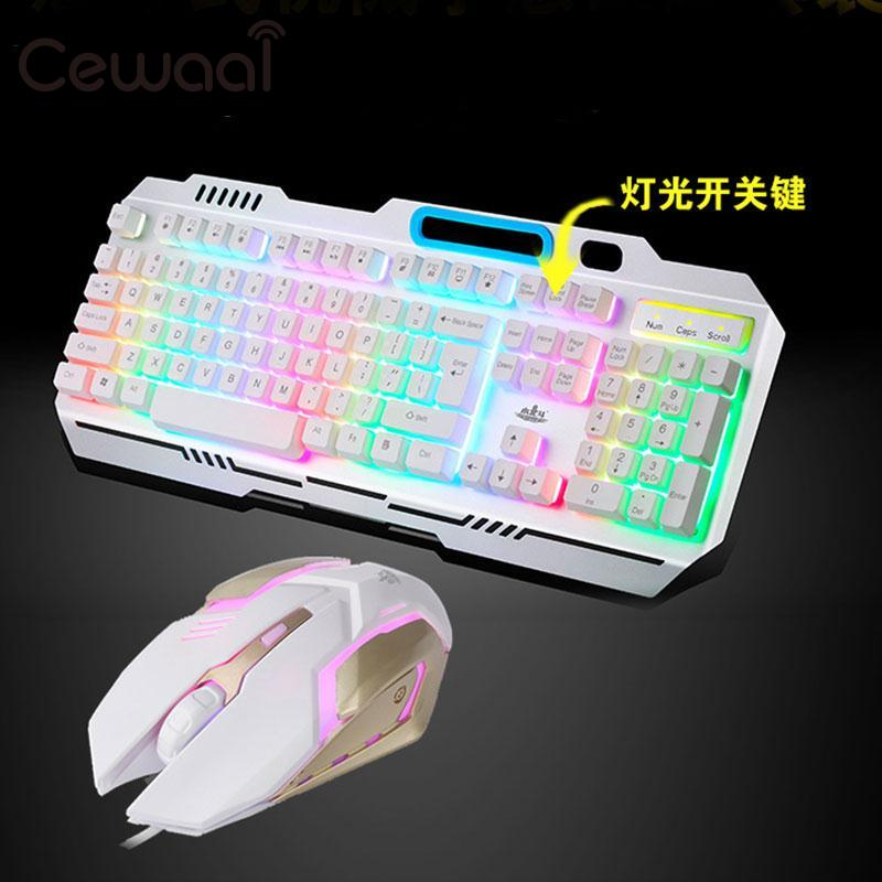Cewaal Raibow Shining Floating USB Wired Gaming Mechanical Keyboard Mouse Mice Sets black white
