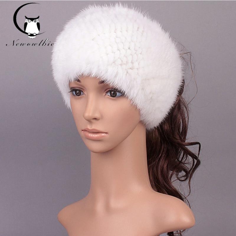 Плетено ново пристигане 2 Използвайте шапка плетен шал и зимни шапки за жени истинска норкова кожа зимна шапка плетена топла естествена носна кожа шалове