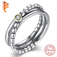 Silver Rings For Women Engagement Wedding Ring Cubic Zirconia Twist Rings Set For Women Authentic 925