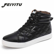 feiyitu 2018 New Hot Men Shoes Fashion Warm Fur Winter Leather Boots Waterproof Snow Footwear High Top Canvas Casual