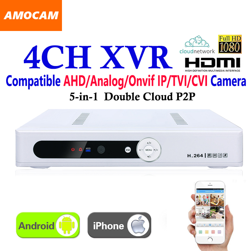 New CCTV 4Channel XVR Video Recorder All HD 1080P 8CH Super DVR Recording 5-in-1 support AHD/Analog/Onvif IP/TVI/CVI Camera new dvr 4 channel h 264 4ch full d1 real time recording support network mobile phone cctv dvr recorder 4ch security dvr