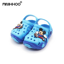 Mini Melissa 2018 New Soft EVA Girl Boy Garden Sandals Mickey Pattern Cartoon Sandals Children Beach Sandals 6Color Non-slip(China)