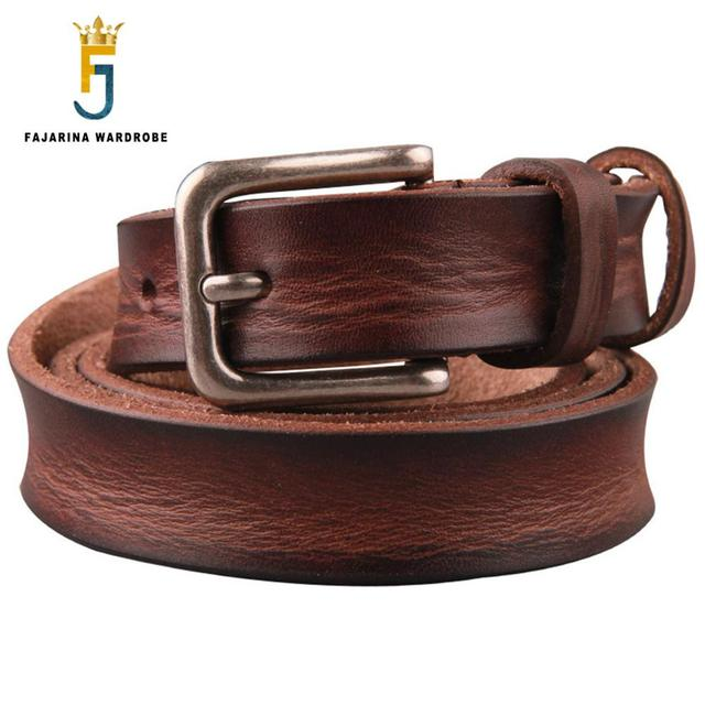 317de9d8cca FAJARINA Ladies Designer Jeans Quality 100% Pure Cow Skin Leather Belt  Retro Clasp Style Buckle