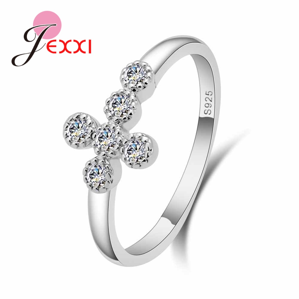 JEXXI 925 100% Solid Sterling Silver Forever Love Heart Finger Ring Original CZ Crystal Jewelry Birthday Valentines Day Gift