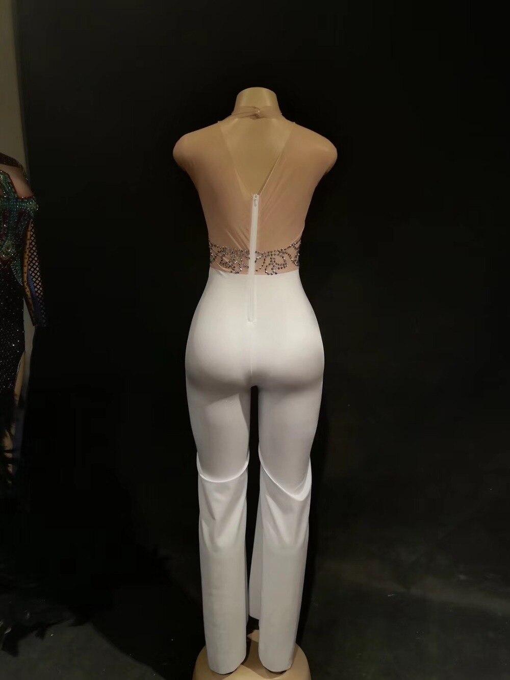 Vêtements Outfit Combinaisons Discothèque piece Blanc Danse Sexy Strass Argent One Chanteuse Stretch Salopette De Femmes Nude xwqFvU1aHU