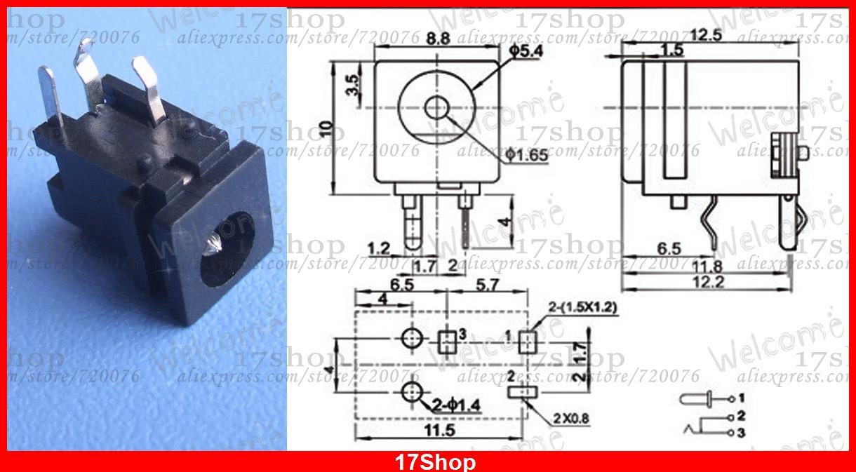 500 pièces 3pin 4.8mm X 1.7mm DC prise 1.65mm jack PCB chargeur puissance femelle prise