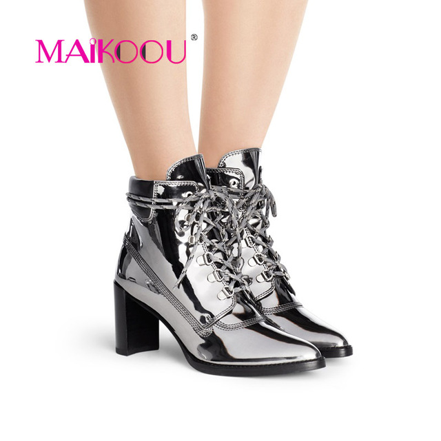 MAIKOOU Fashion Brand Women's Boots High-Heeled Well-Known Design Women Boots