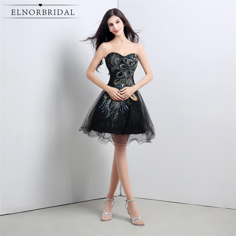2019 Sexy Little Black   Dresses   Sweetheart Short Prom   Cocktail     Dress   A Line Vestido De Festa Curto De Luxo Girls Party Gowns