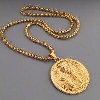New Golden Pharaoh Mặt Dây Chuyền Hip Hop Bling Tut Charm Dày Đấm Bốc Chuỗi Dây Chuyền Mens Jewelry Vận Chuyển Miễn Phí