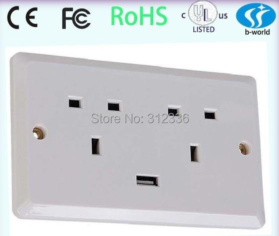 Free Shipping UK type six Holes 250V 13A  one USB DC 5V 1000mA   white panel wall Socket  uk style free shipping 120 models 120pcs usb socket 2 0