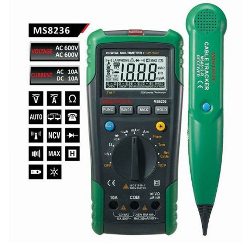 Free Shipping Network Cable Tester MASTECH MS8236 Network Digital Multimeter with Cable Track Tester Multi-Meter 2pcs lot digital network multi meter