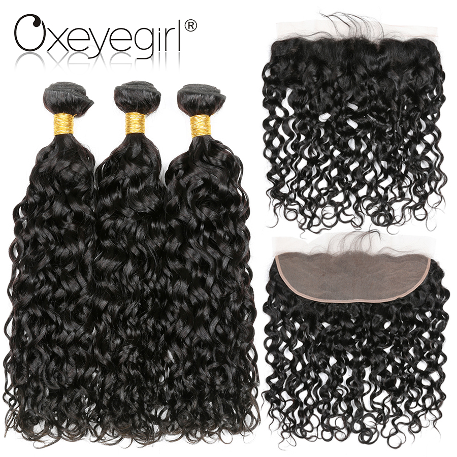 Peruvian Water Wave Human Hair 3 Bundles With Closure 4x13 Lace Frontal Closure With Bundles Non Remy Hair 4 Pcs Oxeye girl