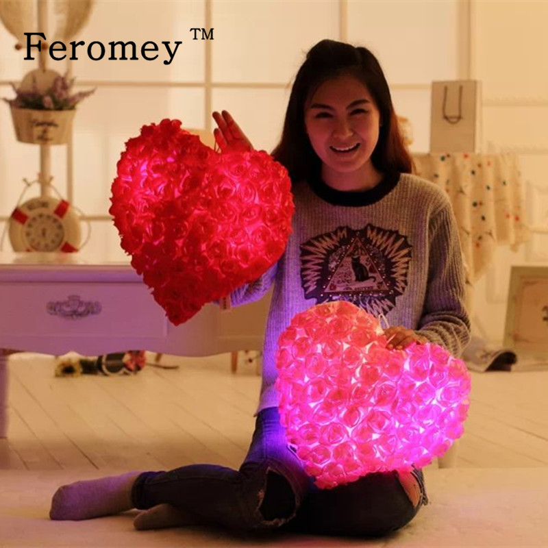 Colorful Rose Romantic Pillow Plush Toys Love Heart LED Luminous Light Pillow Soft Stuffed Doll Gift For Girlfriend Wife led star luminous kids pillow 35cm stuffed soft plush glow cushion colorful flashing pillow lovely toys for girls