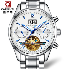 лучшая цена Carnival fully-automatic mechanical watch fashion cutout watch male waterproof luminous mens watch stainless steel 8730