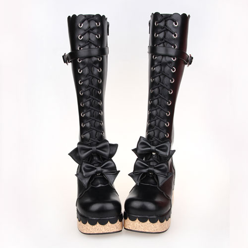 Winter Women Boots Lace Up Knee High Long Boots Bowtie Flat Platform Shoes Woman Over Knee Boots Motorcycle Boots Japan Style