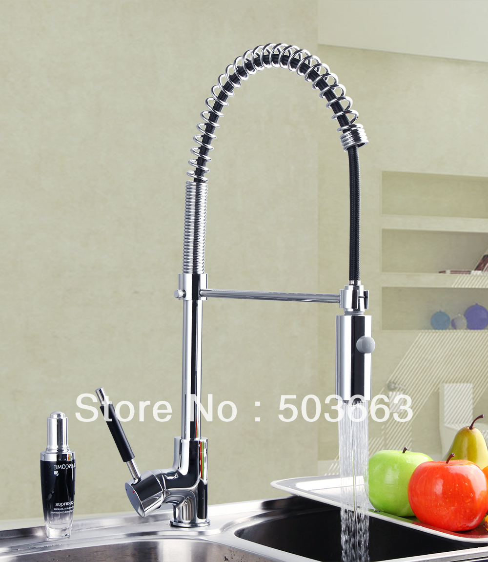 Pro  Polished Chrome Brass Water Kitchen Faucet Swivel Spout Pull Out Vessel Sink Single Handle Deck Mounted Mixer Tap MF-299 good quality wholesale and retail chrome finished pull out spring kitchen faucet swivel spout vessel sink mixer tap lk 9907